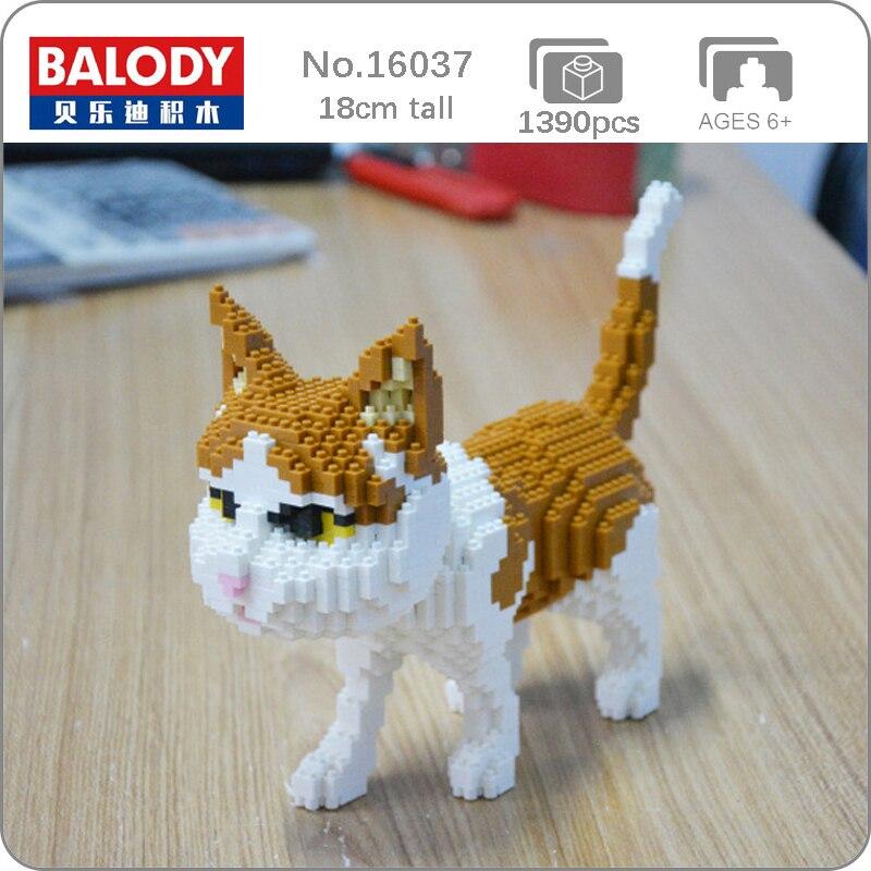 Balody 16037 farsça kedi sarı yavru hayvan Pet 3D modeli DIY Mini elmas blokları tuğla bina oyuncak çocuklar için hiçbir kutusu
