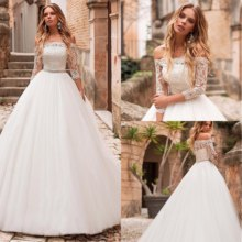 Custom Made 2020 Boat Ball Gown Wedding Dresses Tulle Dresses Lace Bodice with Beaded Waistline Robe De Mariage(China)