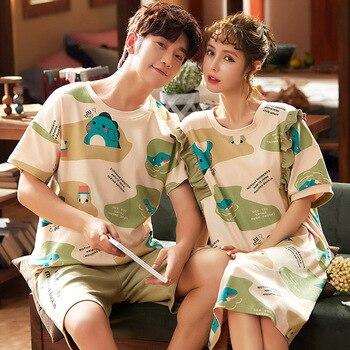 2020 New Couple Pajamas Cartoon Printing Homesuit Sleepwear Cotton Homeclothes Short Sleeve Cute Pajama Set Couple Casual Style cute cartoon style couple lovers keychain silver pair