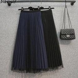 DIMANAF 2021 Plus Size Women Skirt Lace High Waist Summer Basic Light Draped Dresses Bright Sexy Black Oversize Big 4XL Skirt
