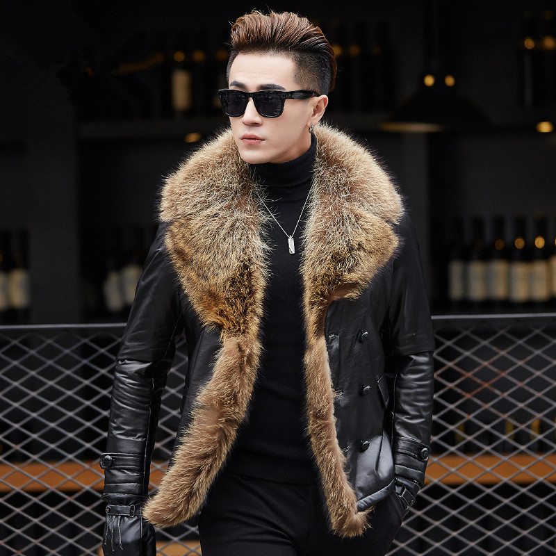 Winter Jacket Men Genuine Sheepskin Leather Jacket 90% Duck Down Jacket Real Raccoon Fur Collar Coat Mens Clothing MY780