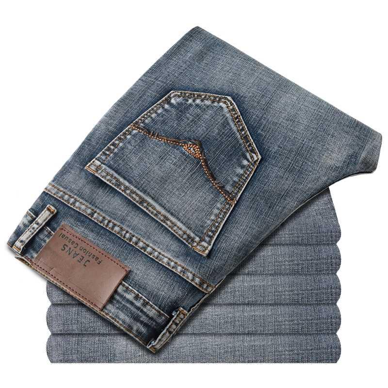 Marca de jeans design exclusivo famoso casual denim jeans masculino em linha reta fino médio cintura estiramento calças jeans