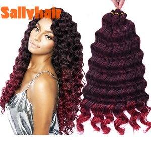 Sallyhair, вязанные крючком косички, глубокая волна, твист, косички, наращивание волос, синтетические, объемные, волосы, пряди, цвет Омбре, черная,...