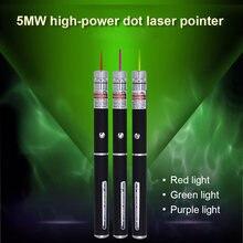 1/3pcs 5MW Poderoso Lottomr Caneta Luz Pencile 530nm 650nm 405nm Dot Caneta com Ponteiro Buiit-em Baterias com Luz Colorida