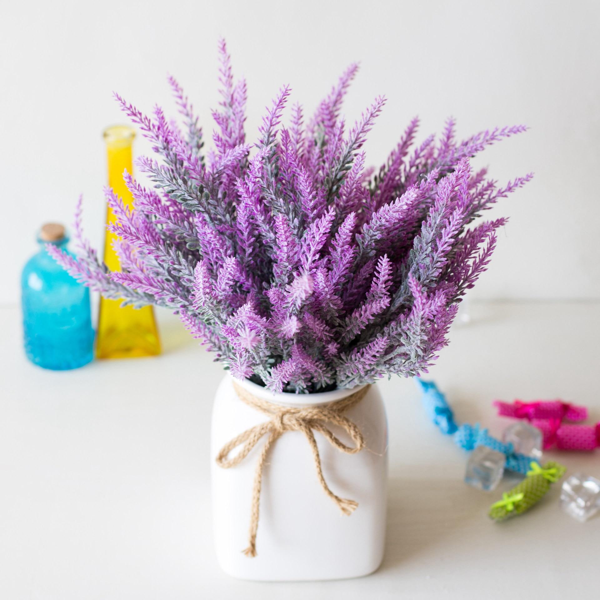 25 Heads Wedding Party Artificial Flowers Lavender Fake Bridal Bouquet Party Home Decor Decorations Artificial Flowers