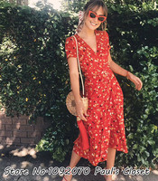 Women The Teale Rouge Fleur Silk Wrap Dress Red Floral Print Deep V Neckline Midi Dress