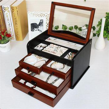 Europe Classic Wood Jewelry Box 4 Layers