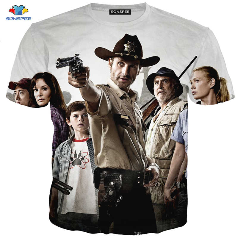 SONSPEE 3D a Maniche Corte T-Shirt da Uomo Horror Serie TV The Walking Dead T-Shirt Anime Sparatoria Lotta Walking Dead dal carro armato Della Camicia