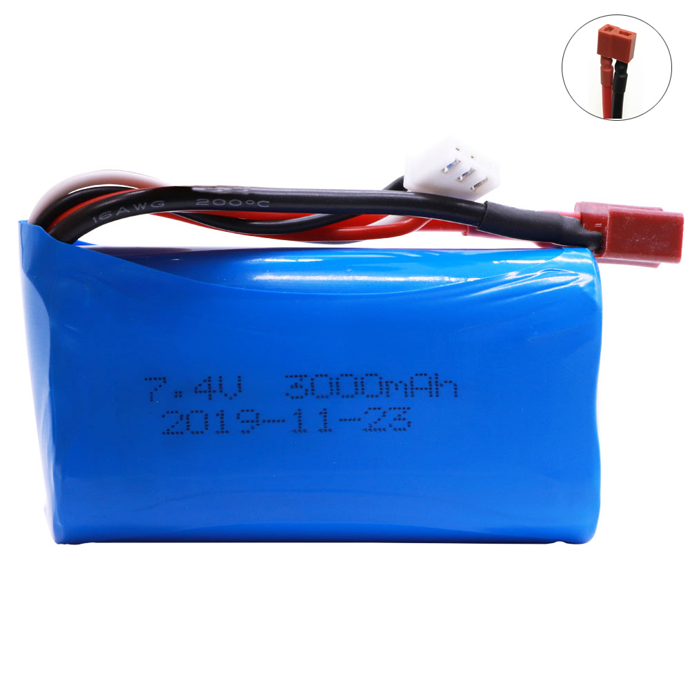 7.4V 3000mah Lipo Battery 18650 2S T Plug For Q46 Wltoys 10428 /12428/12423 RC Car Spare Accessories 7.4V High Capacity Battery