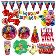 Sésamo rua festa suprimentos utensílios de mesa elmo palhas de papel copos placa guardanapos sésamo rua chá de bebê decorações da festa de aniversário