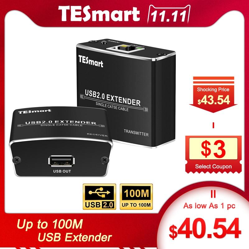 USB Extender 100M USB Extender Cat5E/6 RJ45 LAN UTP Up To100M/328Ft Ethernet Extention With USB2.0 100M Extender Support USB Hub