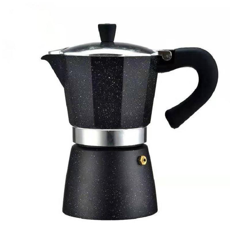 YRP Stovetop Espresso Coffee Maker Black Aluminum Moka Coffee Pot Machine Latte Mocha 6 Cup Percolator Pot barista tools filter