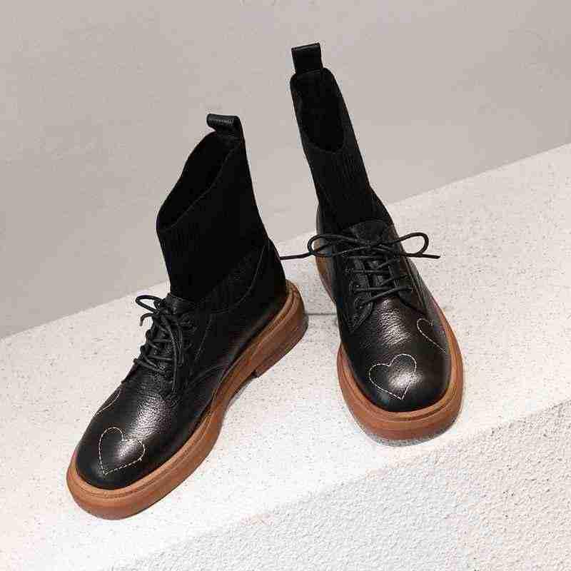 Krazing pot kış inek deri yuvarlak ayak dantel kadar kalın med topuklar kadın asil oxfords tarzı streç örme orta buzağı çizmeler L96
