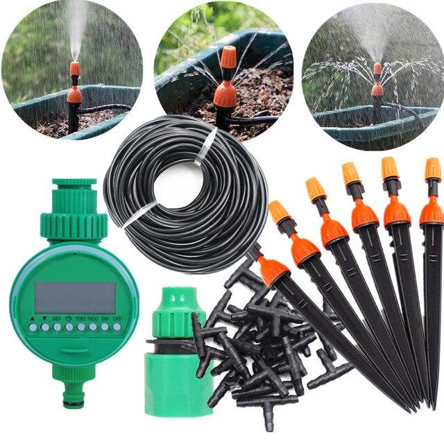 10/15/25 M Micro Drip Irrigatie Set Met Water Timer Misting Sprinkler Druppelaar Plant Self Watering Tuin water Irrigatie Kits