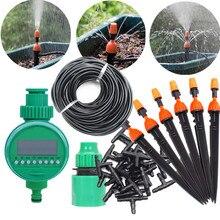 Juego de riego por microgoteo de 10/15/25m con temporizador de agua, rociador de nebulización, planta de riego automático, Kits de riego de agua para jardín