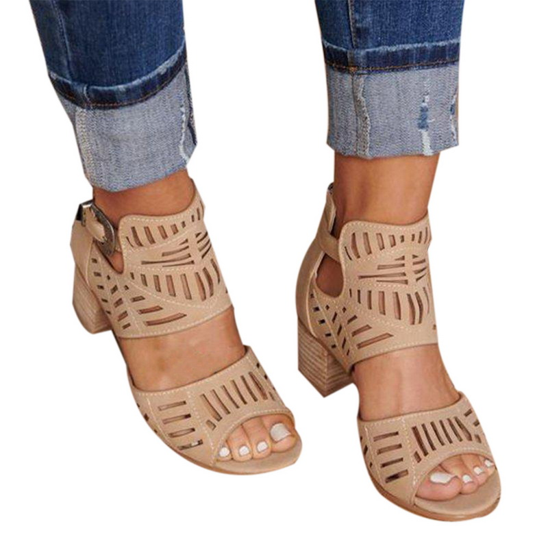 Summer Women Bucket Sandals Fashion Female Hollow Out Shoes Square Mid Heels Shoes Comfortable PU Leather Peep-toe Shoes