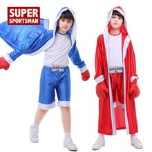 Детский костюм для кикбоксинга рубашка для ММА Муай Тай шорты для мальчиков тренировочные спортивные трусы кикбоксинг Униформа костюм для фитнеса
