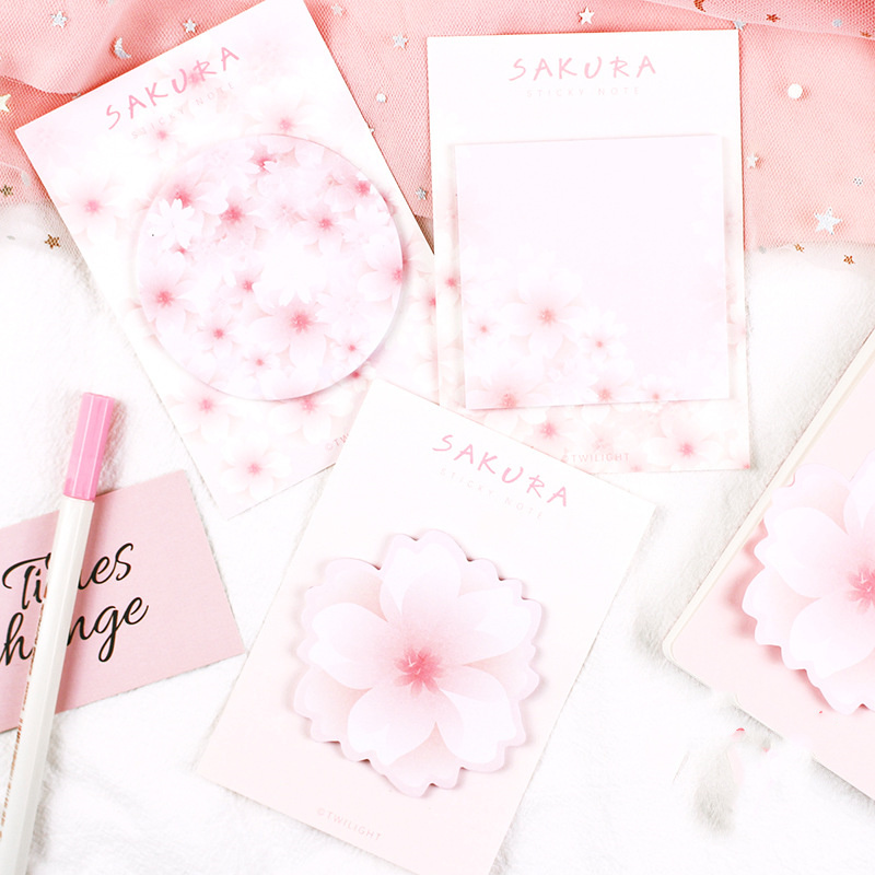 3pcs Sakura Flower Sticky Note Pink Color Cherry Blossom Adhesive Memo Notepad Bookmark Planner Sticker Office School A6090