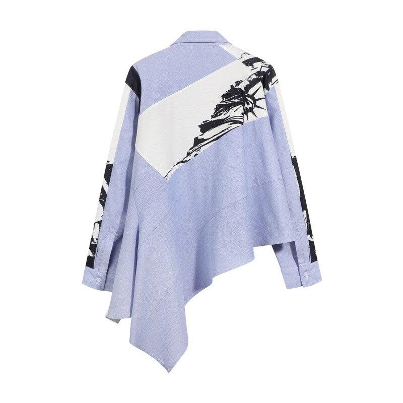 JOYINPARTY 2019 new turn down collar full sleeves inks printed single breasted full sleeves asymmetrical shirt female blouse - 2
