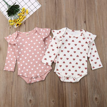 Korean Style Autumn Bodysuit Baby Girl Jumpsuit Clothes One Piece Heart Printed Jumpsuit Cotton Baby Girl Long Sleeve Bodysuit(China)