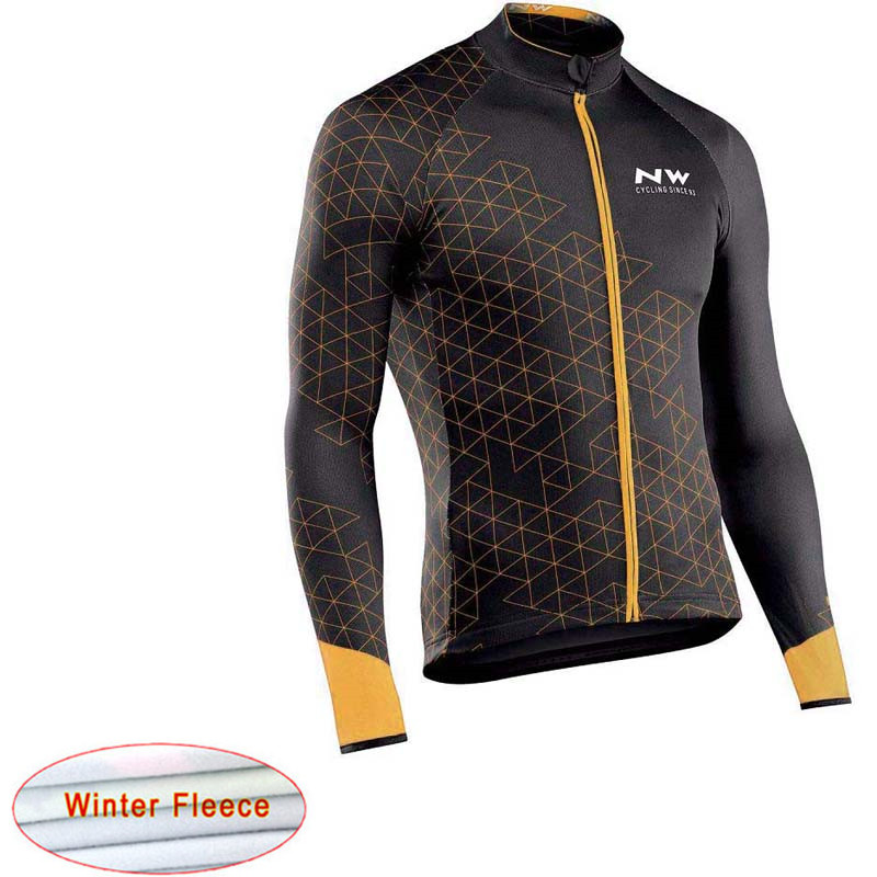 NW Winter Thermal Fleece Cycling Jersey Long Sleeve Bicycle Racing Bike Cycling Clothing Tops Maillot Ropa Ciclismo Hombre C28