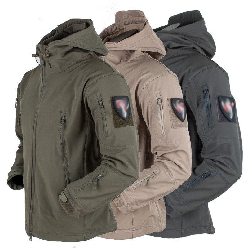 Men Winter Tactical Jacket Fleece Army Jacket Military Shark Skin Windbreaker Jackets Soft Shell Warm Waterproof Windproof Coat
