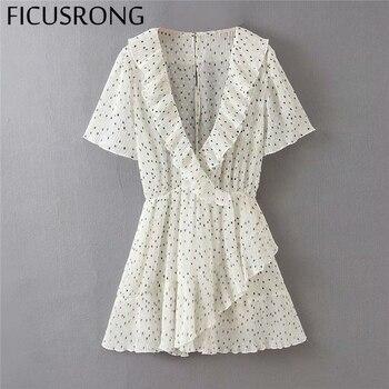 2020 Fashion Playsuits Dress Women Streetwear Print Ruffles Polyester Regular FICUSRONG