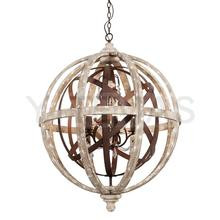 American country wood art chandelier makes old sitting room dining-room bedroom lamp individual character of round ball