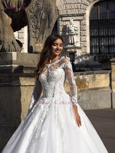 Image 4 - Julia Kui Gorgeous Tulle A line Wedding Dress With Full Sleeve Wedding Gown Royal Train