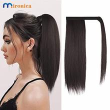 Owiń długie proste kucyk ludzkie włosy doczepy z włosów typu Remy doczepiane indyjskie włosy klip Ins Natural Color Hairpiece tanie tanio MIRONICA Remy włosy 100 g sztuka CN (pochodzenie) Ciemniejszy kolor tylko 1 sztuka tylko Pure color Indyjski włosy Straight
