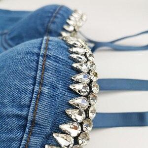 Image 3 - נשים סקסי ריינסטון פרח ג ינס יבול חולצות רווה פסטיבל לדחוף את חזיית מחוך גופייה לילה מועדון המפלגה קצוץ feminino