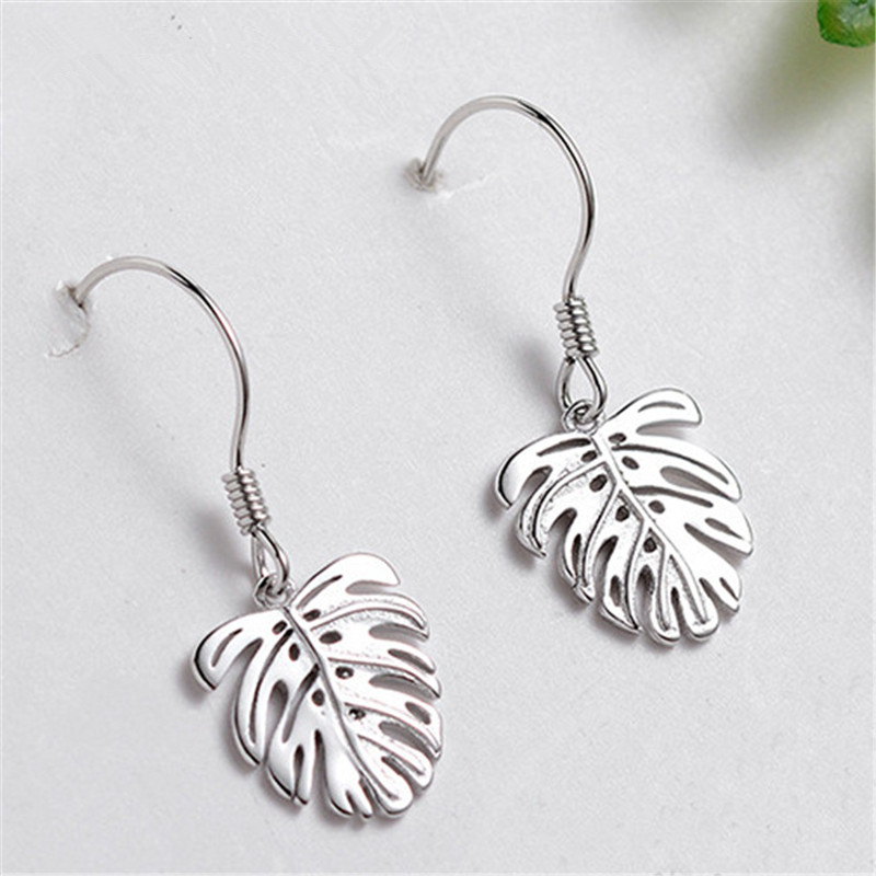 925 Sterling Silver Leaf Stud Earrings For Women Party Boucles D'oreilles Wedding Jewelry Girl Gifts Eh425