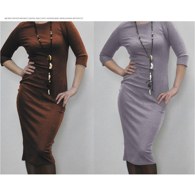 H51fba1447d7e4514b35fb431f130824da 2019 Autumn Hot Slim Bodycon Dress Women Solid Color Chic Party Dresses Casual Sleep Wear Inside Wear Vestidos Pencil Dress