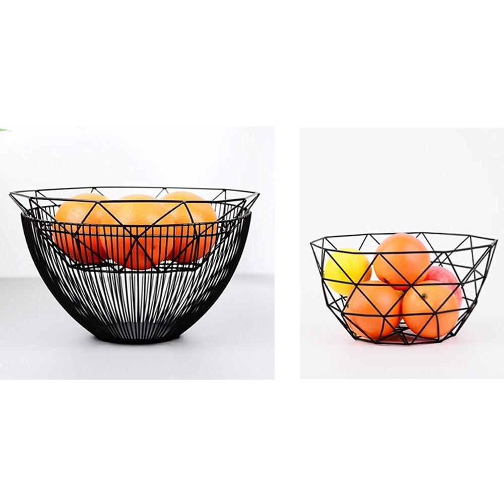 Nuevo estilo nórdico geométrico fruta Metal cesta de alambre cocina escritorio almacenamiento tazón contenedor Mesa frutas placas de decoración