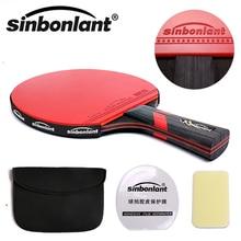 Raquete de tênis de mesa, com cabo longo e cabo curto de borracha, dupla face, raquetes de ping pong com estojo