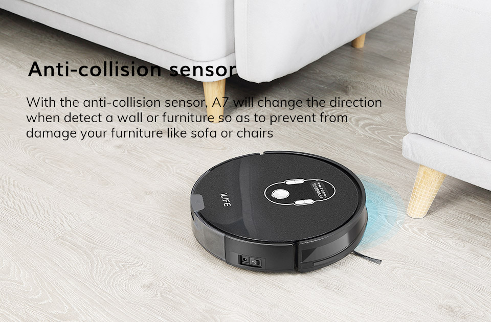 H51fbadf7eb82405b906bfc19e03f76d4L ILIFE A7 Robot Cleaner Vacuum Smart APP Remote Control for Hard Floor and Thin Carpet Automatic Recharge Slim Body