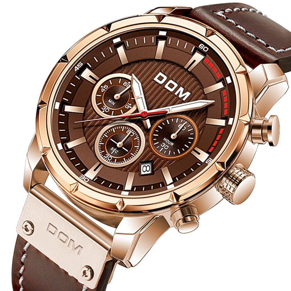 DOM Sapphire Sport Watches for Men Top Brand Luxury Military Leather Wrist Watch Man Clock Chronograph Wristwatch M-1320GL-5M 5