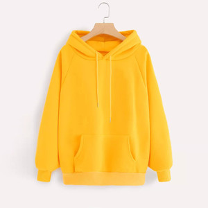 Yellow Hoodie Sweatshirts Womens Kawaii Kpop Style Hoodie Sweatshirt Hooded Pullover With Pocket Streetwear Hip-hop Hoodies 2020