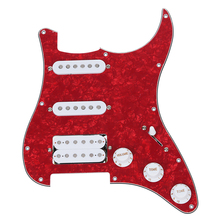Loaded Prewired Pickguard for Electric Guitar---Red loaded prewired electric guitar pickguard pickups 11 hole hsh white