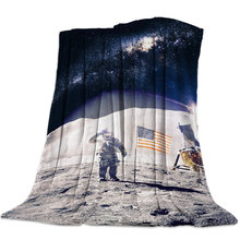 Astronaut Space Bedspread Blankets Coverlet Flannel Throw Wrap Wrinkle-Resistant Skin-Friendly Anti-Static Breathable Polyester(China)