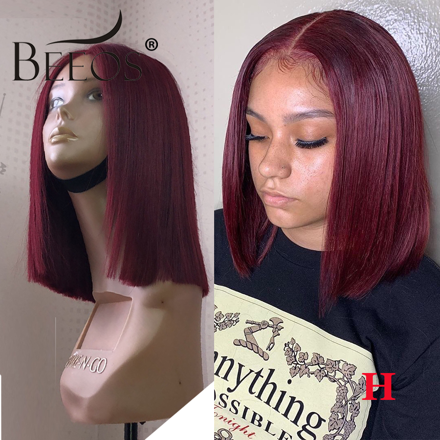 150% Straight Burgundy Bob 13*6 Deep Part Lace Front Wigs 99J Lace Front Human Hair Wig Brazilian Remy Preplucked With Baby Hair