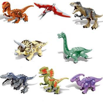 цена на Jurassic Dinosaurs Park Baby Dinosaur World Crystal Raptor Pterosaurs Triceratops Tyrannosaurus Rex Figures Toy