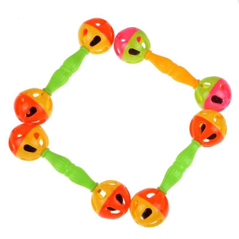 Neue Schütteln Dumbells Hand Glocke Frühe Pädagogische Entwicklung Spielzeug Großhandel Zufällige farbe Baby Kind Zwei-kopf Rassel Glocken Spielzeug