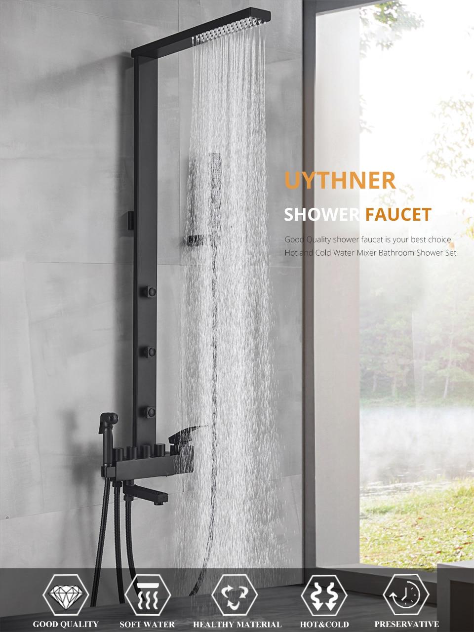 H51fc117a5a9e40fd8f0998b8f6683a82t Uythner Luxury Matte Black Bathroom Faucet Bath Rain Shower Faucet Wall Mounted Bathtub Shower Mixer Bidet Tap Shower Set Mixer