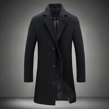 Hot Selling Long Solid Color Single-Breasted Trench Coat Wool Plus-size Casual Style Jacket