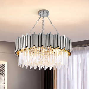 Image 2 - Modern luxury round gold crystal chandelier lighting for living room dinning room zyrandol LED hanging lamp kitchen chandeliers