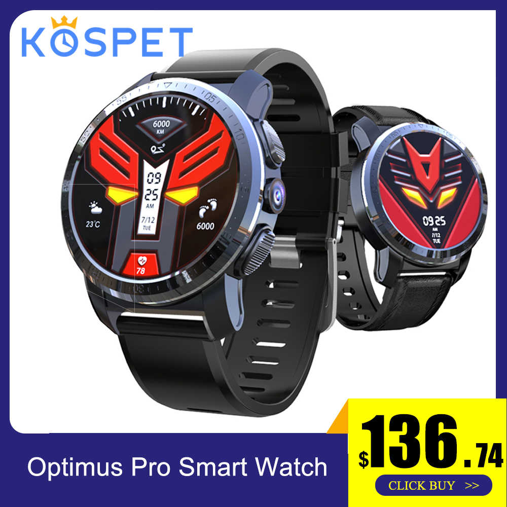 "Смарт-часы KOSPET Optimus Pro 4G для мужчин Android 7.1.1 3GB32GB 800mAh батарея 1,39 ""8.0MP камера gps WiFi Bluetooth 4,0 телефон часы"