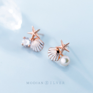 Modian Rose Gold Color Starfish Shell Enamel Stud Earrings for Women 925 Sterling Silver Fashion Jewelry Brincos Dropshipping