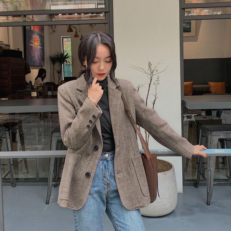 Wool Suits Jacket Loose Blazer Coat Woman 2020 Spring Herringbone Stripe Single-breasted Casual Office Coat Ladies Winter Blazer