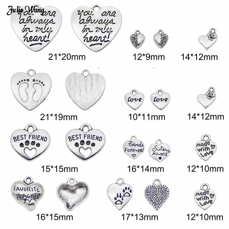 10pcs Heart Beads Tibetan Silver Charms Pendant DIY Bracelet 17*19mm